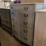 Taupe Highboy Dresser- Industrial and Shabby Chic Furniture in Frederick Maryland